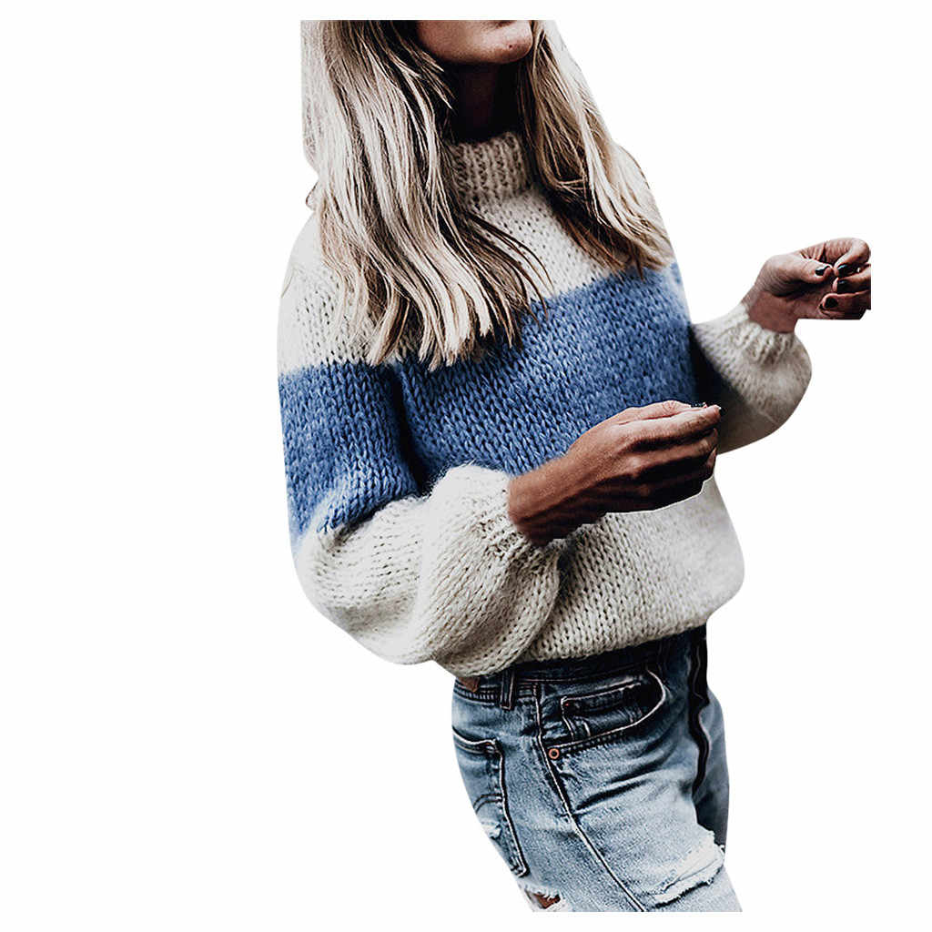 women's sweater knitted KLV Women's sweater ladies high collar pullover sweater sweater casual stitching long-sleeved shirt  9.4