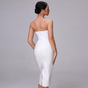 Image 4 - 2020 חדש קיץ תחבושת שמלה אלגנטי לבן סקסי Bodycon גבירותיי כפתור סטרפלס סקסי אופנה מועדון מסיבת עגל שמלה