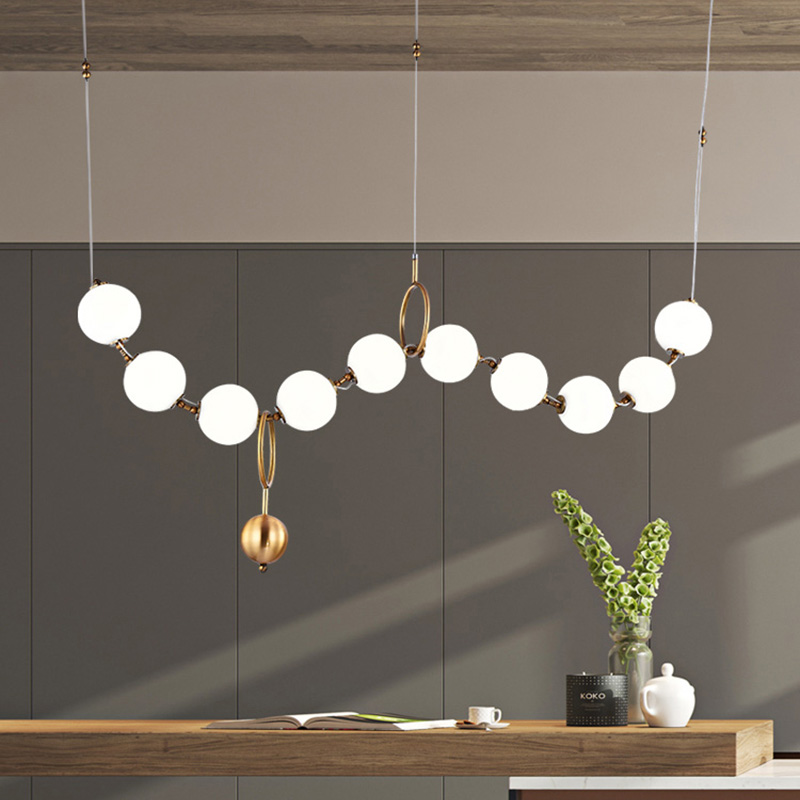 Luxury Simplicity Pearl Necklace Lobby Chandelier Glass Art LightsLiving Room Model Showroom Hall Personality Lamps|Pendant Lights| |  - title=