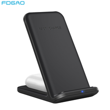 FDGAO 20W Dual Fast Wireless Charger for iPhone 12 11 XS XR X 8 Airpods Pro 2 in 1 Qi Charging Stand For Samsung S20 S10 S9 Buds