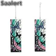 Papillon motif rectangulaire acrylique boucles d'oreilles breloque femme oreille bijoux vêtements accessoires exagérés