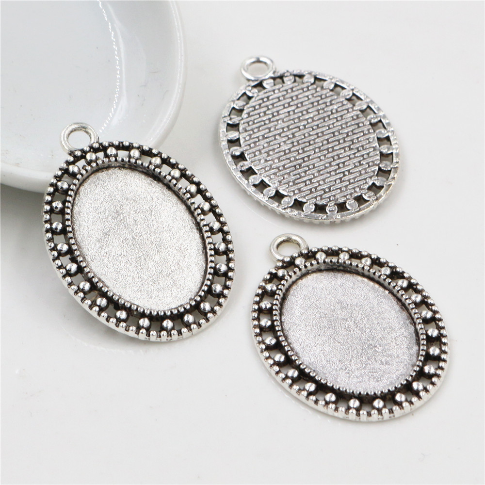 10pcs 18x25mm Inner Size Antique Silver Plated Cameo Cabochon Base Setting Charms Pendant Necklace Findings  (C2-50)