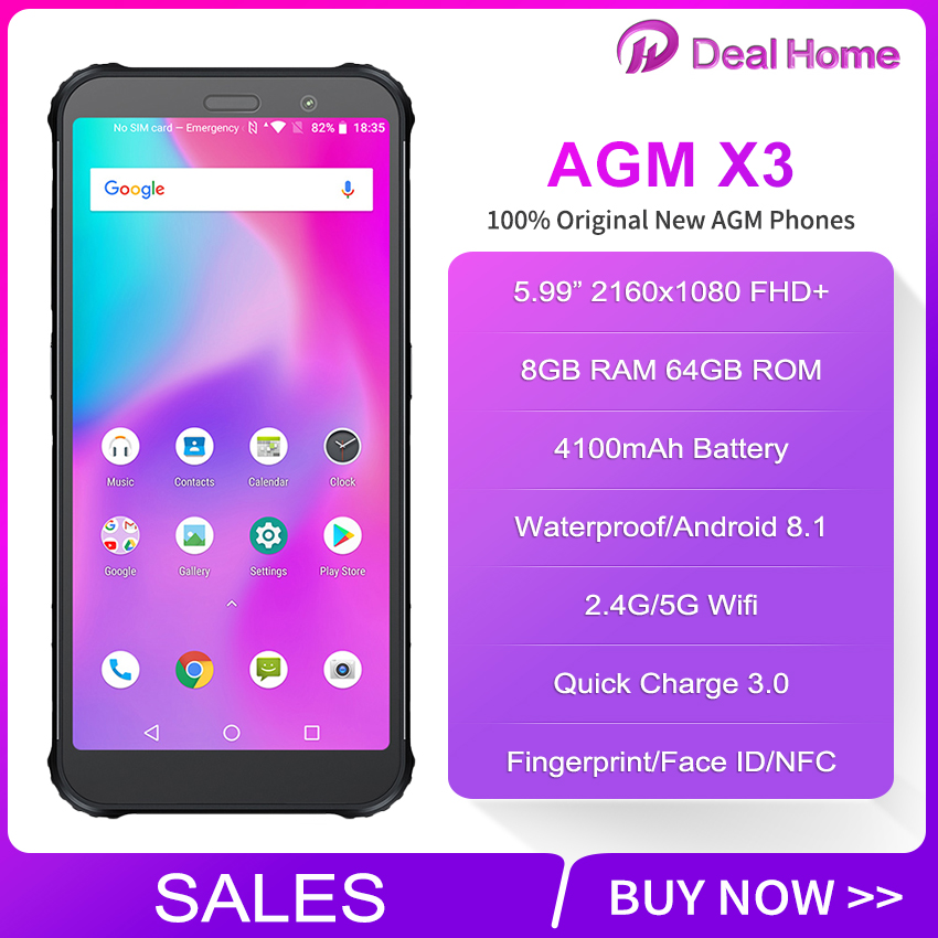 "Image 2 - AGM X3 IP68 JBL Tuned Speakers Smartphone 5.99"" Screen 4100mAh Android 8.1 NFC Wireless Charger AGM & JBL Cobanding Mobile Phone-in Cellphones from Cellphones & Telecommunications"