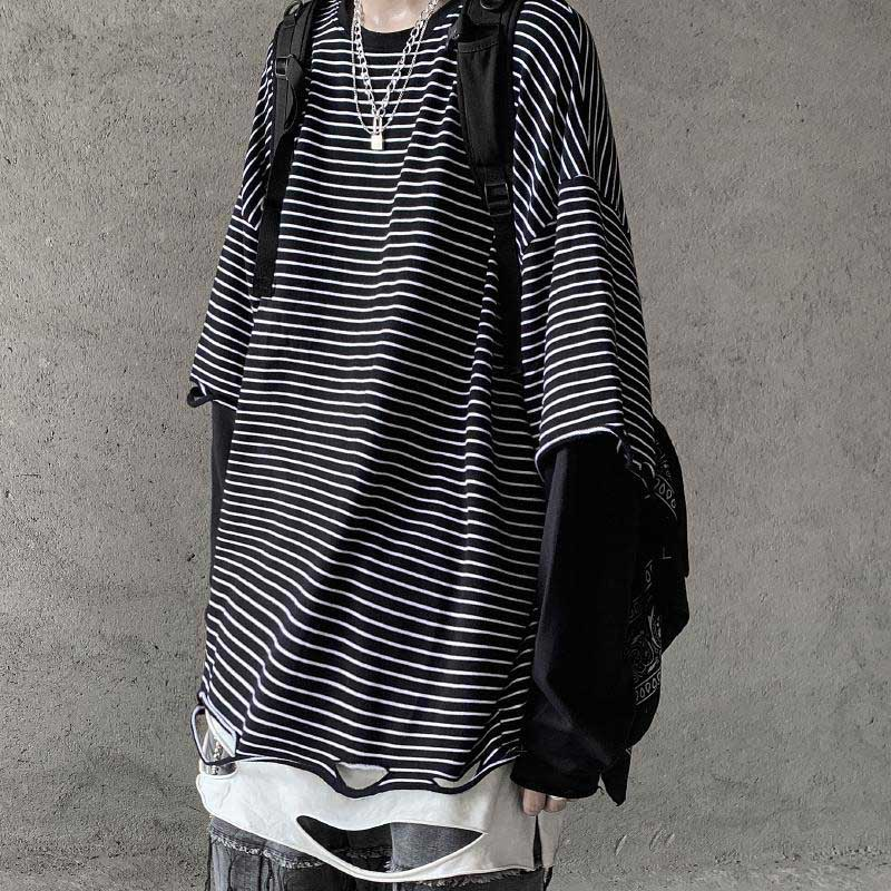 NiceMix Ripped Hole Women Man Contrast Long Sleeve Striped Look Two Piece <font><b>Style</b></font> Loose <font><b>Oversized</b></font> T <font><b>Shirt</b></font> T-<font><b>Shirt</b></font> Street <font><b>Korean</b></font> Ha image