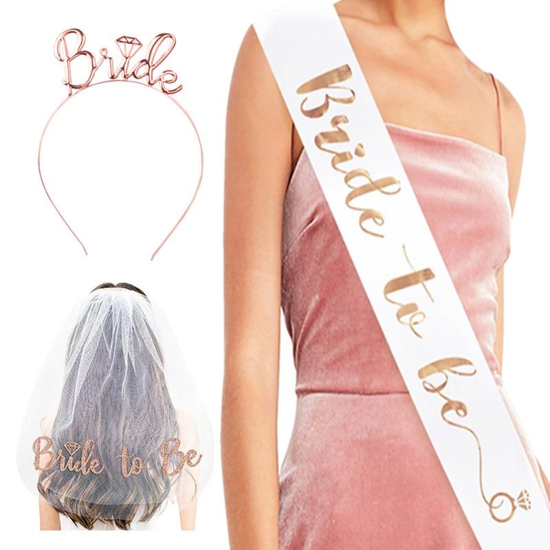 Bachelorette Party Supplies Rose Gold Wedding Veil Bride To Be Satin Sash Wedding Decorations Bridal Shower Hen Party Decoration
