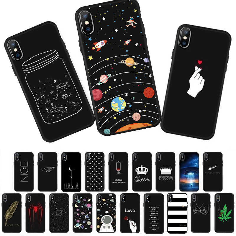 Luxury Black Matte Cover Case For iPhone XS Max XR X 7 6 S 6S 8 Plus 10 5 5s SE Cartoon Space Phone Cases Soft Silicone TPU Capa