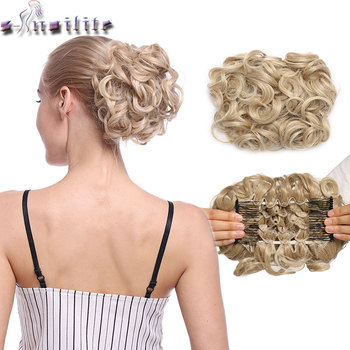 S-noilite LARGE Comb Clip In Curly Synthetic Hair Pieces Chignon Updo Cover Hairpiece Extension Hair Bun 1