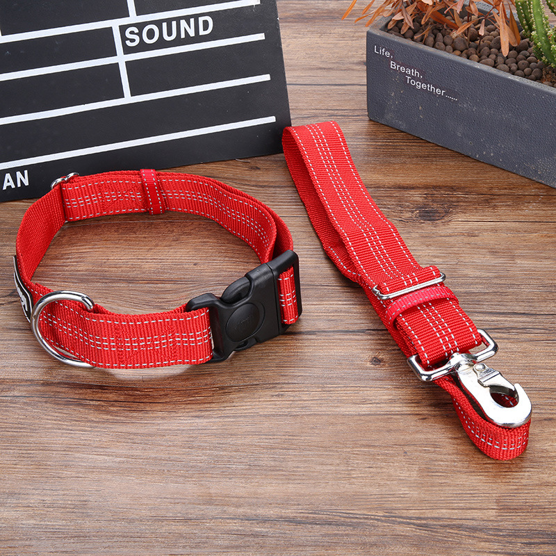 Pet Dog Traction Three-piece Set Retractable Neck Ring Large Dog Reflective Chest And Back Lanyard