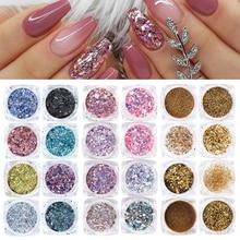 8pcs Nail Glitter Powder Mermaid Sequins Flakes Gradient Holographic Pigments Paillettes For Nails Art Manicure Polish BE1506