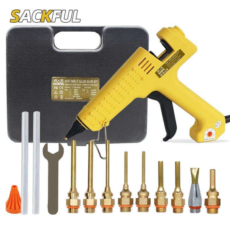 Glue Gun Box 150W 200W 250W Hot Melt Glue Gun Adjustable Temperature Glue Gun With Long Nozzle Professional Glue Gun Tool Kit