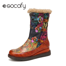 Women's Boots SOCOFY Genuine-Leather Wedges Wearable-Sole-Platform Waterproof Lining