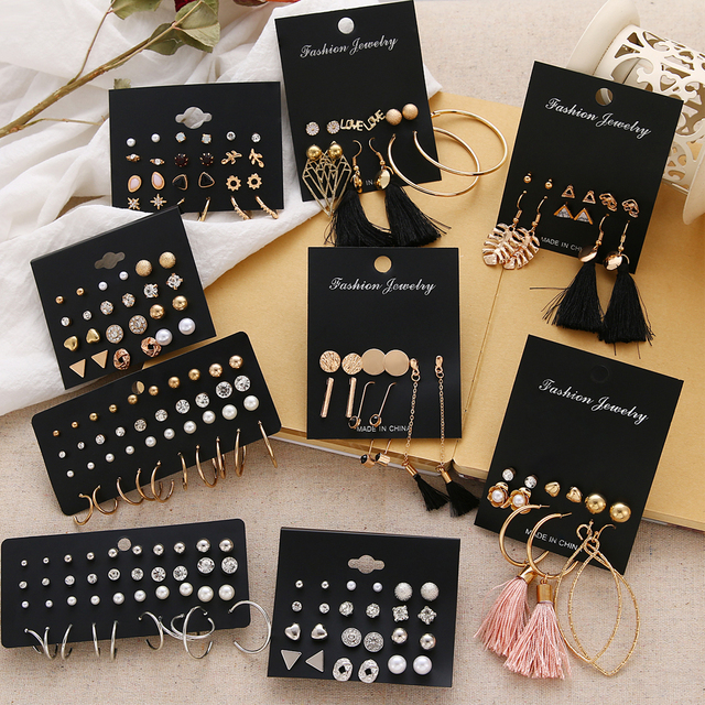 EN 12 Pairs Flower Women'S Earrings Set Pearl Crystal Stud Earrings Boho Geometric Tassel Earrings For Women 2020 Jewelry Gift 2