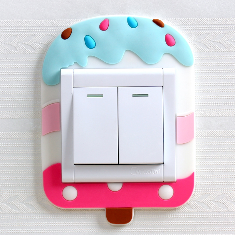 Cute Cartoon 3D Wall Silicon On Switch Stickers Children Luminous Switch Light  Home Decoration