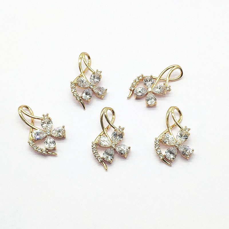5-20pcs Plating cz jewelry pendant,clear cubic zircon micro pave charm pendant,cz necklaceearring jewelry accessories