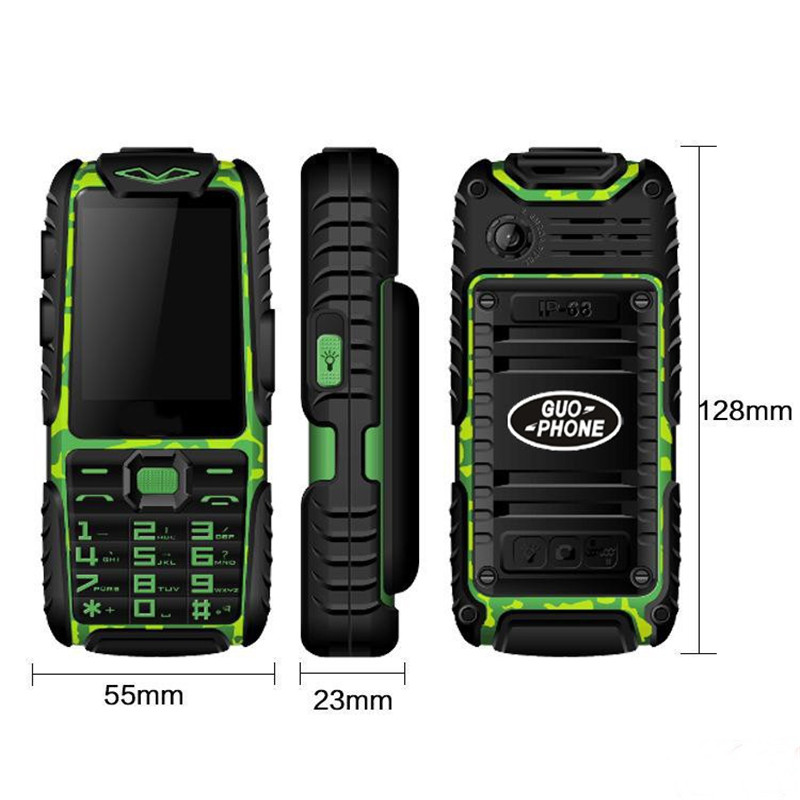GUOPHONE A6 Three Proofs Military Industry Electric Power Mobile Phone Waterproof Super Long Standby for The Elderly