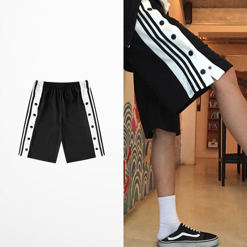 Hip Hop Retro Side Slip Fastener Shorts Men Casual Wear Sports Short Pants  Tide Brand Skateboard Streetwear Retro Men's Shorts