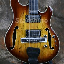 High Quality Electric Guitar Hollow Body Handmade Splited Maple Top Ebony Bridge