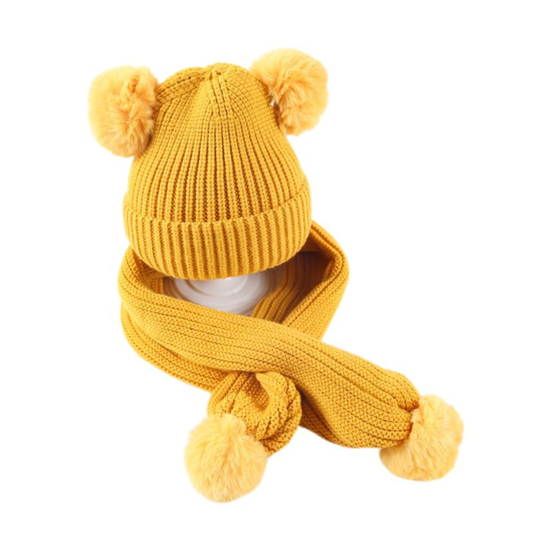 Children Scarf Hat Set Knitted Solid Color With 2 Balls Kids Autumn Winter Shawl AXYD
