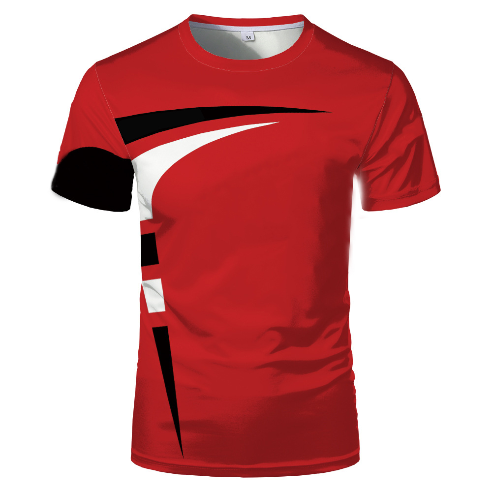 Fashion new 3D printing summer hot sale short-sleeved round neck men and women same sports T-shirt 4
