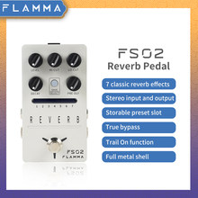 FLAMMA FS02 Reverb Pedal Reverb Stereo Electric Guitar Effects Pedal with Spring Reverb True Bypass Storable Preset Trail On