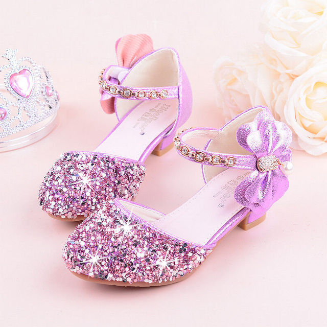 2019 Girls Bow knot Princess Shoes With High heeled, Kids Glitter Dance Performance Summer Shoes, Purple , Pink & Silver 26 38