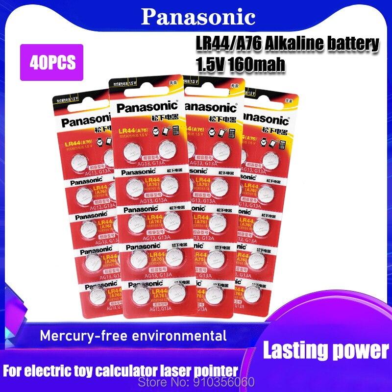 Батарейки Panasonic AG13 LR44 LR1154 SR44 A76 357A 303 357 LR44W, 40 шт., кнопочные батарейки 1,55 в, щелочные для часов и игрушек