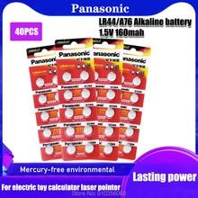 40pcs Panasonic AG13 LR44 LR1154 SR44 A76 357A 303 357 Botão Bateria de Célula Tipo Moeda 1.55V Alcalina LR44W Para Relógios Brinquedos