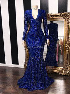 N215 Elegant royal blue fashion V-neck long sleeves zipper mermaid/trumpet sequins long evening dress/formal gowns free shipping