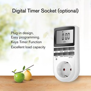 Mini Digital LCD 230V 16A Timer Switch Socket Outlet Plug-in Time Control for Kitchen Electric Appliance EU Plug with Colock