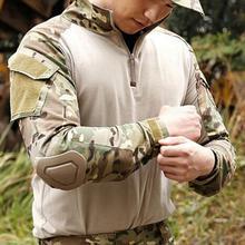 Hunting-Military-Uniform Zip-Combat Tactical T-Shirt/Set Slim-Fit Long-Sleeve Dry Quick