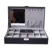 PU Leather Watch Box Necklace Earring Jewelry Storage Show Case with Mirror 33.2x20x8.5cm
