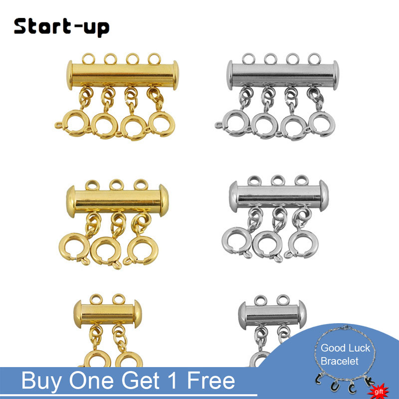 Start-up 5pcs Slide Lock Spacer Clasp Multi Strands Magnetic Tube Lock Layered Necklaces Bracelet Connectors For Jewelry Supply