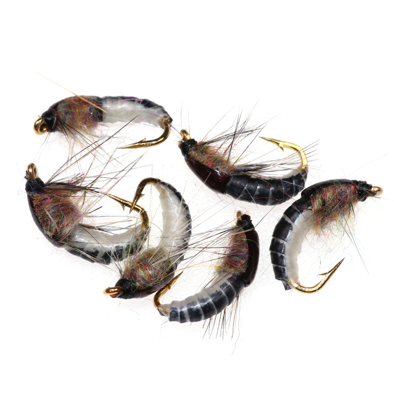 6Pcs/Set 12 Realistic Nymph Scud Fly for Trout Fishing Artificial Insect Bait Lure Simulated Scud Worm Fishing Lure