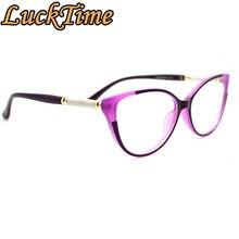 LuckTime rahat moda kadın gözlük çerçevesi kedi gözler kadın miyopi gözlük çerçevesi şanslı zaman reçete optik çerçeve #1894