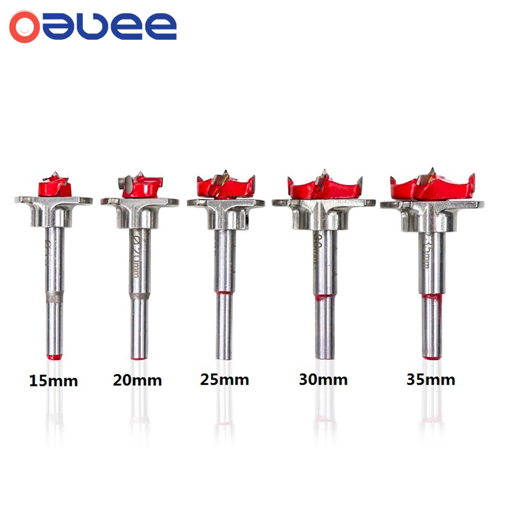 Oauee 15-35mm Carbide Tip Drill Bit Woodworking Tools Hole Saw Cutter Hinge Boring Drill Bits Round Shank Tungsten Carbide Cutte