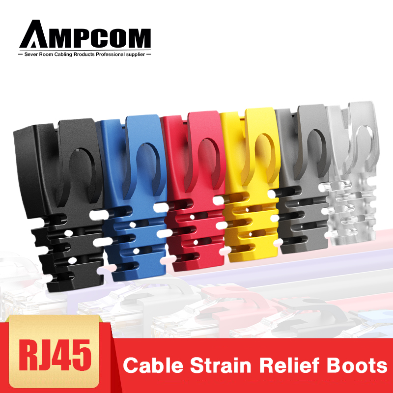 AMPCOM 100PCS RJ45 Ethernet Network Cable Strain Relief Boots Cable Connector Plug Covers for CAT8 CAT7 CAT6A CAT6 CAT5E CAT5 image