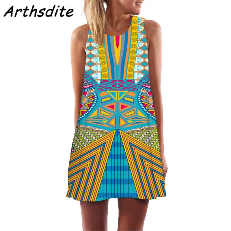 Arthsdite 2019 Summer Dress Women 3D Floral Print Short Dress Sleeveless Boho Short Beach Dress Sundress Casual Dresses Vestido in Dresses from Women 39 s Clothing