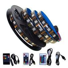5 V Volts USB LED Light Strip RGB SMD Não Impermeável 5050 5 V Fita Levou Luz USB TV Backlight 50CM - 5M Com Controle Remoto