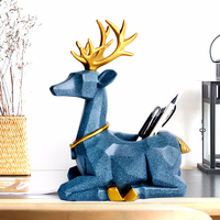 Kawaii Cartoon Deer Pen Holder Resin Creative Office Desk Accessories Organizer Stationery Cute Decoration Holder Pencils Gift