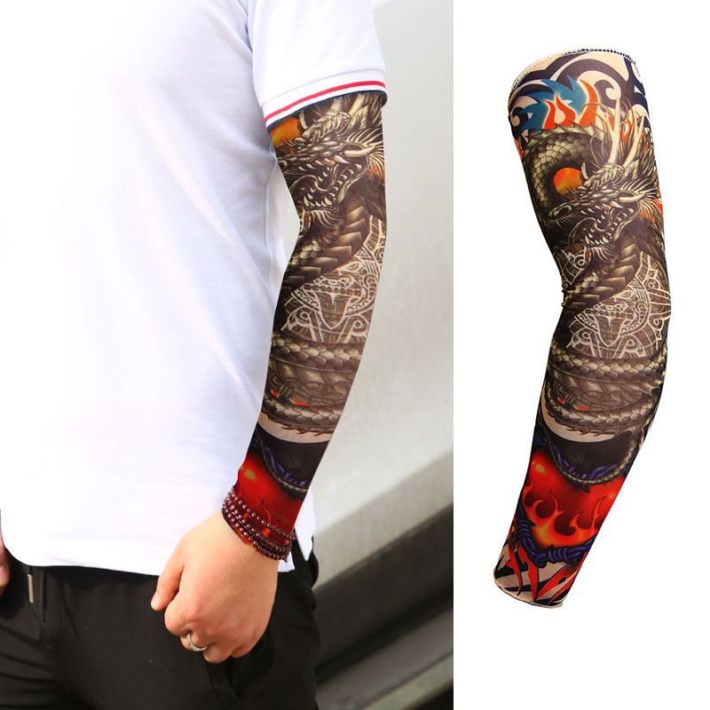 1 Pcs Outdoor Cycling Sleeves 3D Tattoo Printed Arm Warmer UV Protection Bike Bicycle Sleeves Arm Protection Riding Sleeves