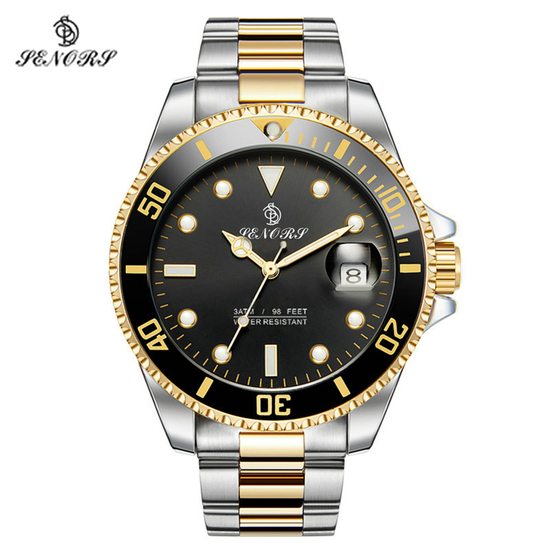 Senors Gold  Color Automatic Mechanical Men Watch Fashion Luxury Stainless Steel Male Clock Waterproof Watch  Luminous watches