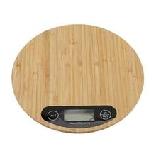 Светодиодный мини-электронные кухонные весы измерение во время приготовления пищи инструмент цифровые круглые кухонные весы бамбук 5000 г