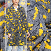 Winter New fashion American style grey with yellow floral jacquard cashmere wool fabric for coat dress SP3853 Free shipping