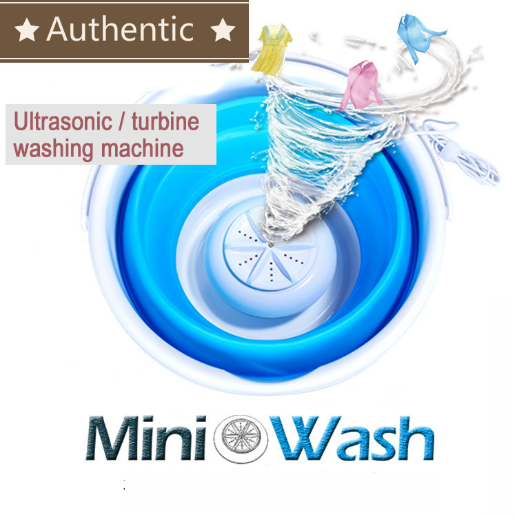 Portable Ultrasonic Turbine Washing Machine Foldable Bucket Type USB Laundry Clothes Washer Cleaner For Home Travel