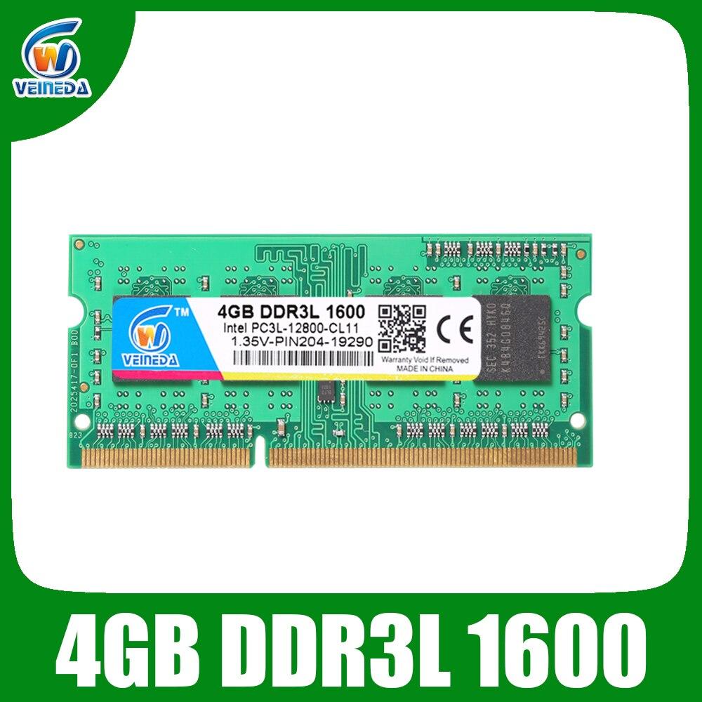 VEINEDA RAM DDR3L 4GB GB 1333 1600 PC3-12800 8 1.35V Para Intel e AMD Compatível 2gb ddr 3 memoria ram Não-ECC SODIMM