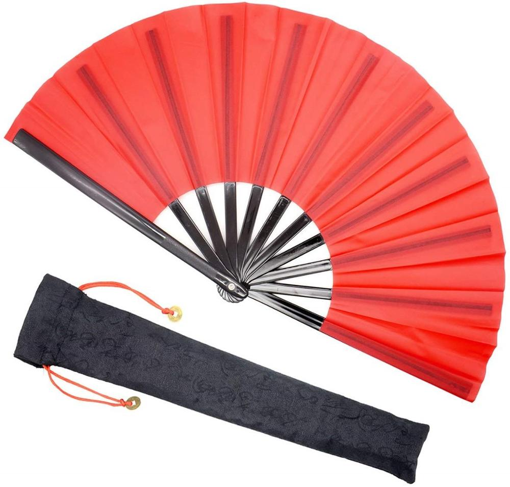 33CM Nylon Cloth Folding Fan Chinese Kung Fu Tai Chi Fan Handheld For Performance Dance Fighting Party  Home Decor Gift