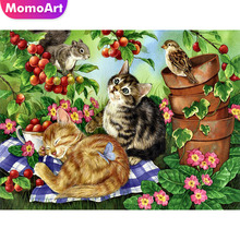 MomoArt Diamond Embroidery Cartoon Painting Full Drill Square/round Mosaic Cat Cross Stitch Flowers
