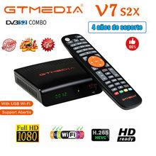 Nuevo decodificador GTMEDIA V7 S2X DVB-S/S2/S2X + T/T2 tarjeta satélite AC 1080P H.265 TV receptor con WIFI para 8 líneas