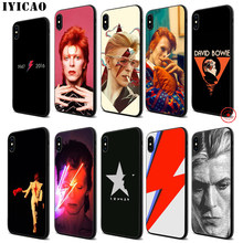 IYICAO David Bowie Zachte Zwarte Siliconen Case voor iPhone 11 Pro Xr Xs Max X of 10 8 7 6 6S Plus 5 5S SE(China)