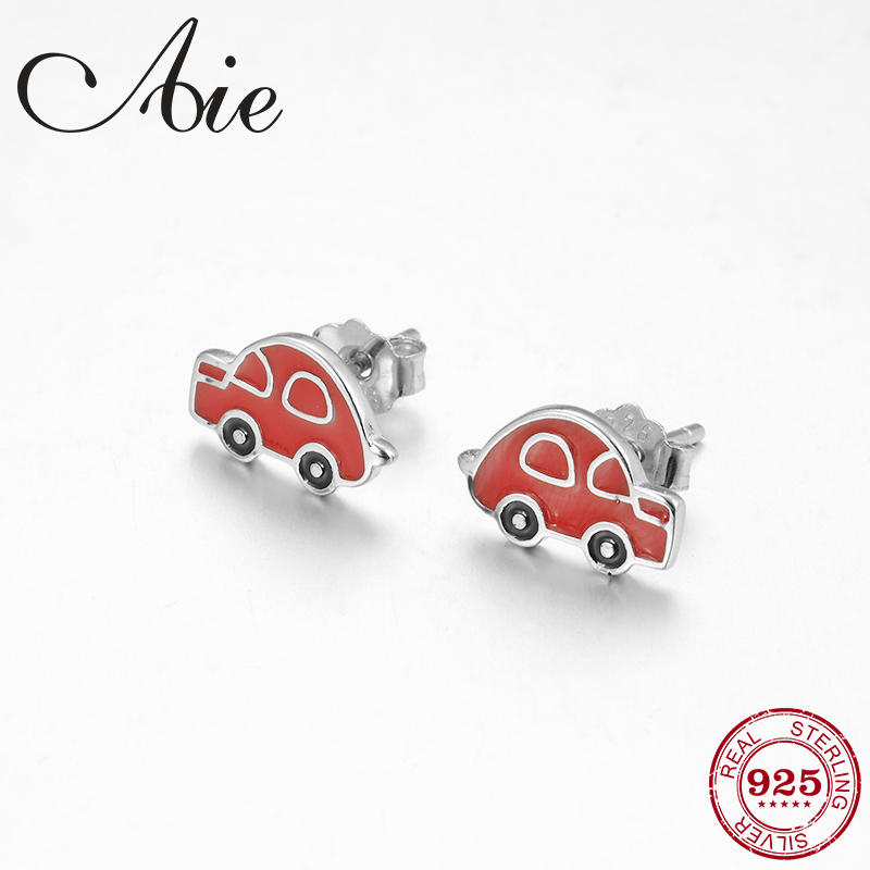 New 100% Authentic 925 Sterling Silver Red Enamel Car Shape DIY Womens Stud Earrings Party Jewelry Gift